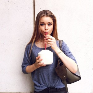 Sipping on fresh coconut water while strolling through New York! Staying hydrated at all times