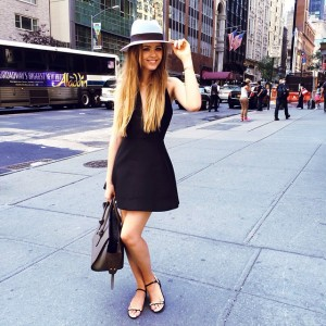 Today in this @keepsakethelabel dress, @maisonmichel hat, Chanel flats and Céline bag #kaytureonthego