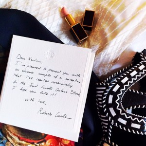 Waking up to a special, hand written note from the one and only @robertocavalli! So excited for today's Just Cavalli show, as always, I am sure it will be spectacular