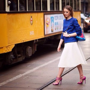 Before the Roberto Cavalli show! Strolling in these  beautiful @jimmychooltd fuchsia heels, picture by @timuremek_photography #kayfw #mfw #kaytureonthego #inmychoos