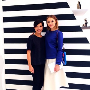 With the impeccable Sandra Choi, creative director and designer of @jimmychooltd. Enjoyed discovering their SS15 collection, so many beautiful and unexpected pieces on the way!