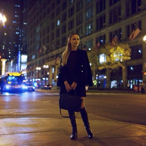 Exploring Chicago by night in my total @michaelkors look. Excited for tomorrow's event at @macys!