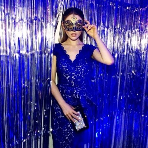 Yesterday night, wearing @oliviertolentinocouture at the Unicef Masquarade ball with @veuveclicquot!