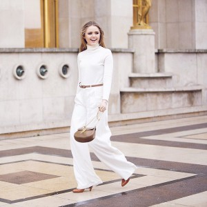 Twirling in Paris yesterday in this total white look! Thanks to @fwstreetstyle for this great shot