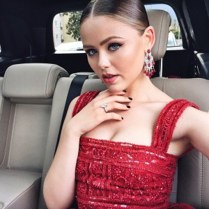 Almost there!! Carfie while heading to the #amfAR gala, wearing this insane RED @eliesaabworld dress and @chopard jewels. Can't wait to spend the evening with @MoetChandon ✨ #MoetMoment