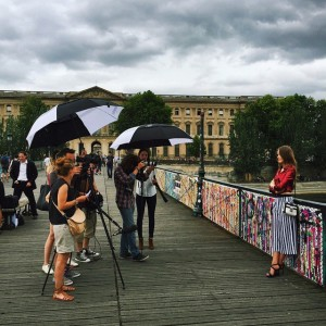 Shooting with @audemarspiguet on Le Pont des Arts in Paris! #APWoman #audemarspiguet (for backstage video content, make sure to check my Snapchat story