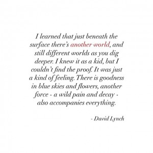 Wise words from one of my favourite artists and visionary David Lynch. Learn to embrace fear and transform it, shape it into creativity. Into something bigger, better, brighter than it is. Everything happens for a reason if you see the idea, the opportunity in each occasion.