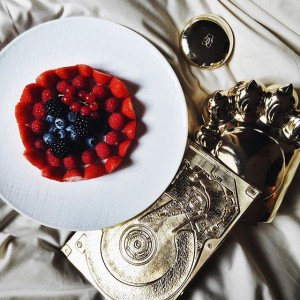 The best berry plate in Paris at the @parkhyattparis as we are getting ready for the @kenzo show! #KayturePFW #PFW